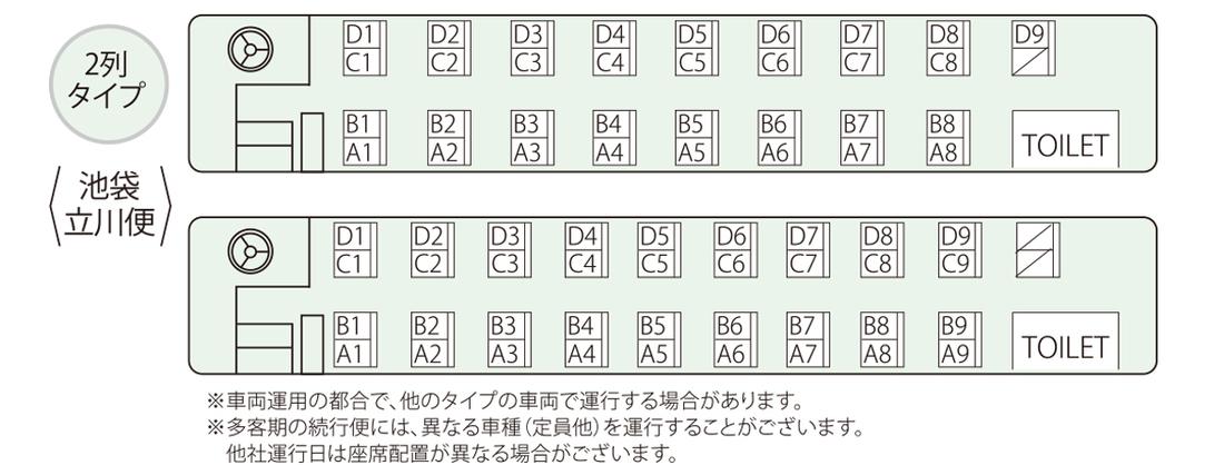東京方面高速バス座席